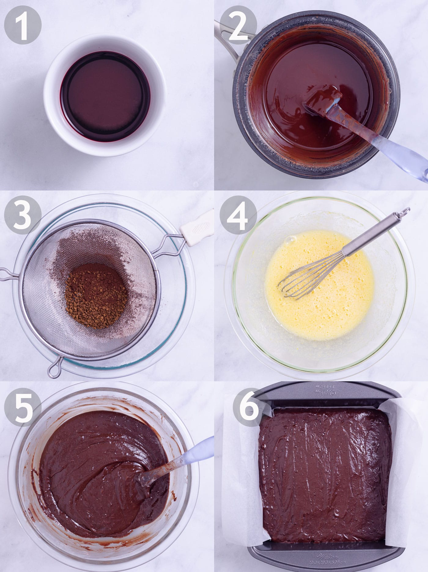 Step by step photos of making brownies with red wine: reduce wine, melt chocolate with butter, mix dry ingredients, mix wet ingredients, combine everything and bake.