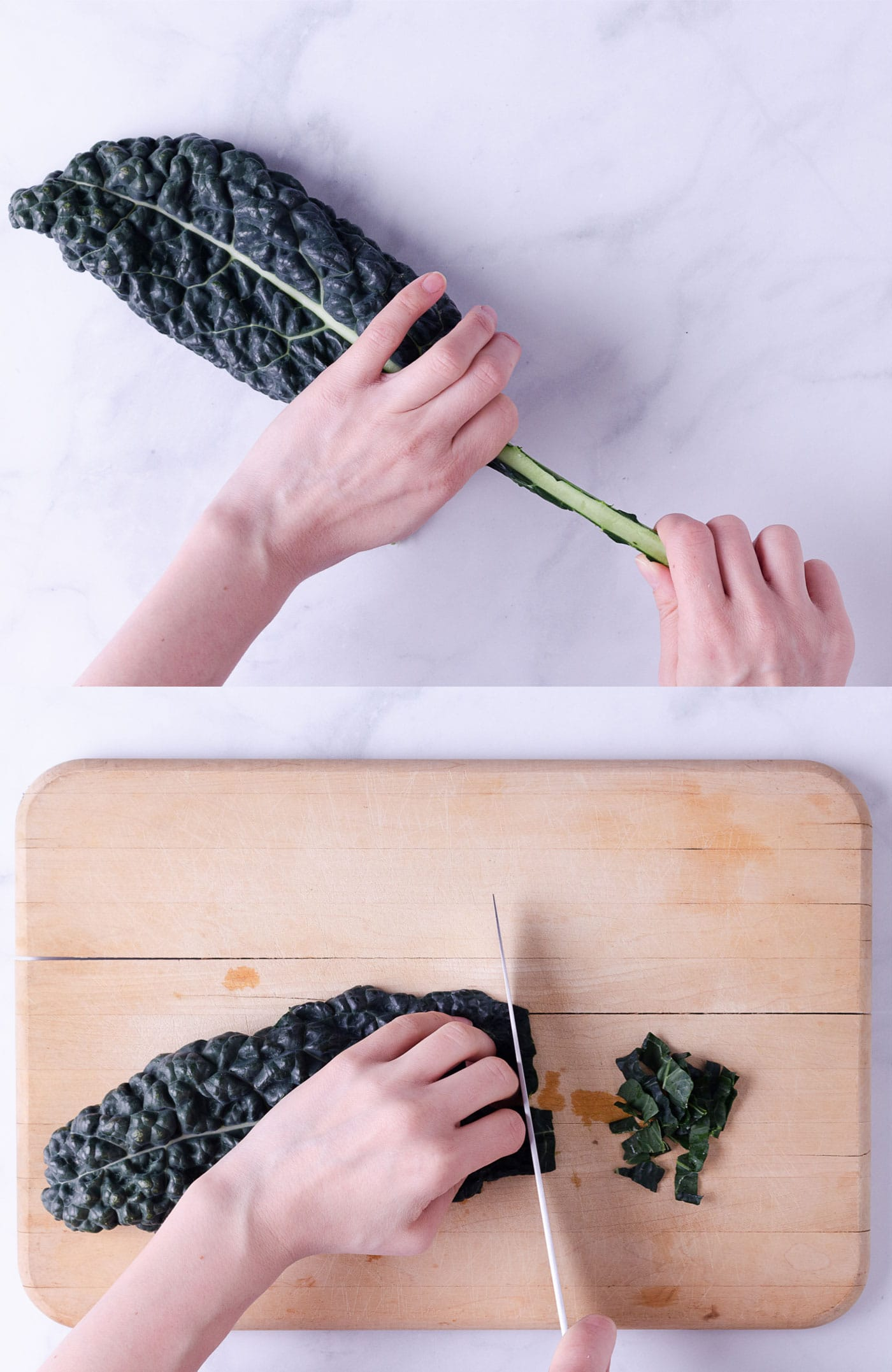 Side by side photos showing how to remove stem of kale and thinly slice.