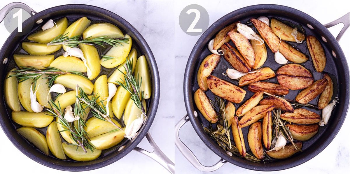 First two steps of cooking potato wedges in a pan with olive oil, fresh rosemary and garlic in the cloves.