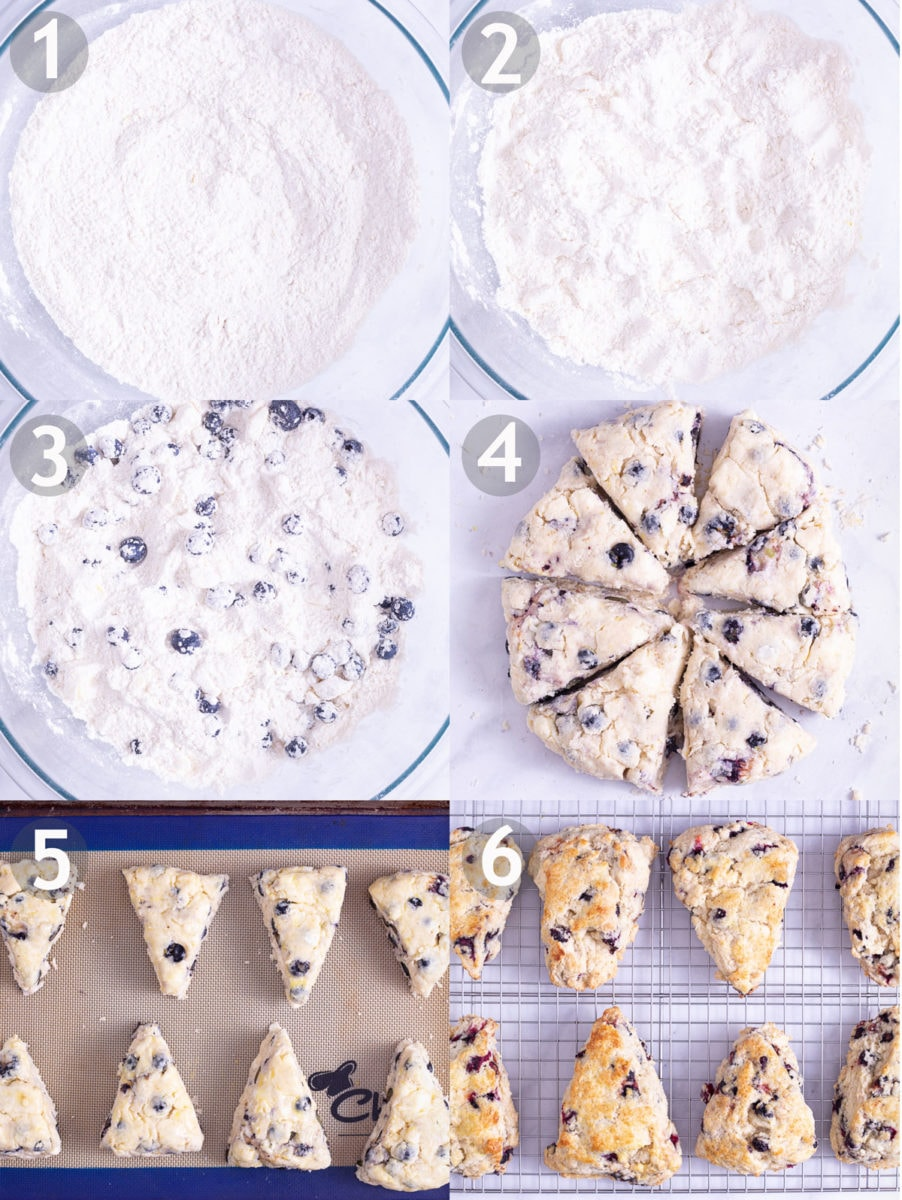 Step by step images of making scones: mix dry ingredients, work in chunks of butter, add lemon zest and blueberries, add cream, form and bake.