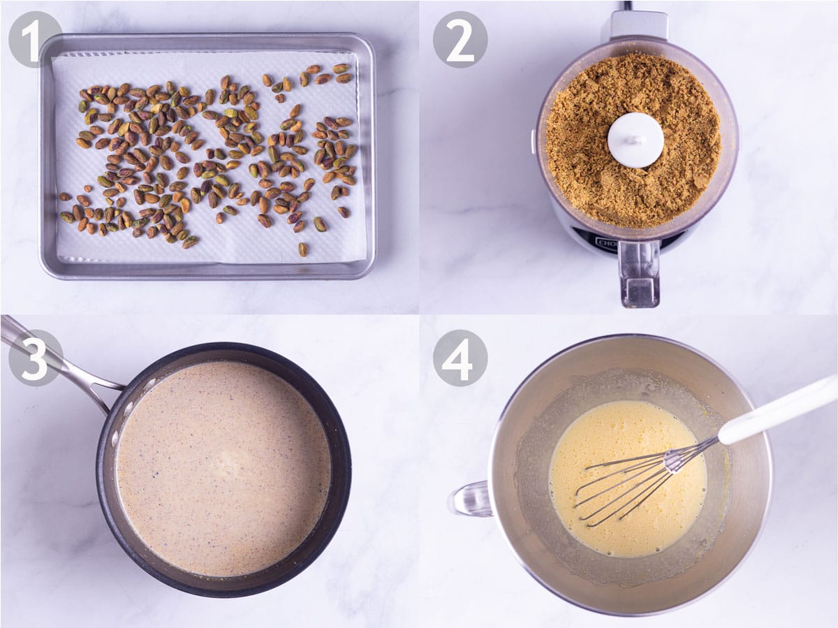 Steps 1-4 to make recipe: toast and grind nuts, warm cream base and whip together eggs and sugar.