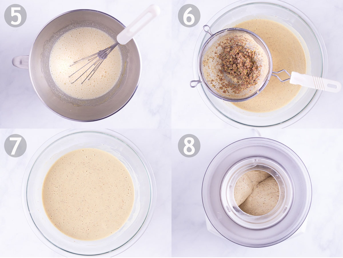 Steps 5-8 of recipe: temper eggs, cook custard base, strain, chill and freeze.