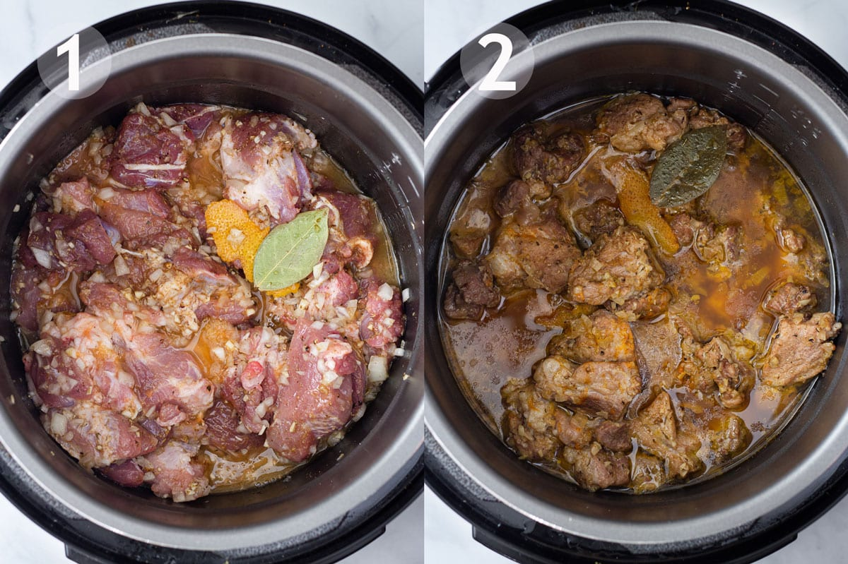 Carnitas before and after cooking in pressure cooker.