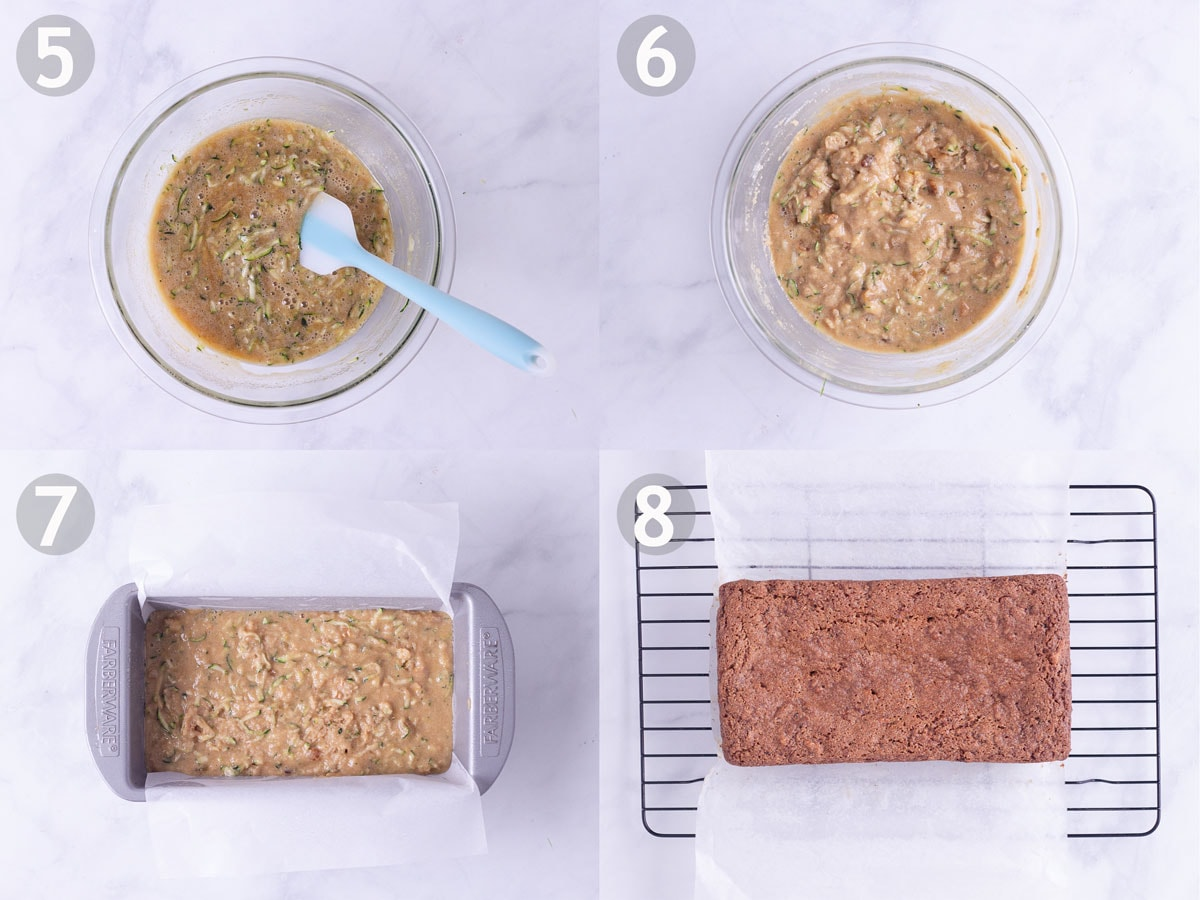 Steps 5-8 to make zucchini bread: mix wet ingredients, combine wet and dry and bake in loaf pan.