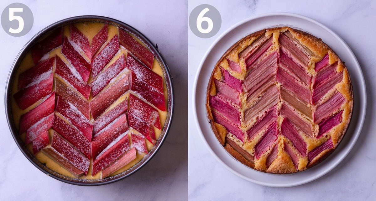Side by side of rhubarb cake before and after being baked.