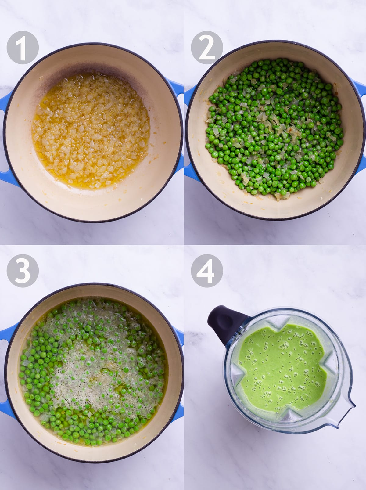 Side-by-side photos showing steps to make soup, including sautéing onion, adding peas, boiling with water and pureeing in a blender.