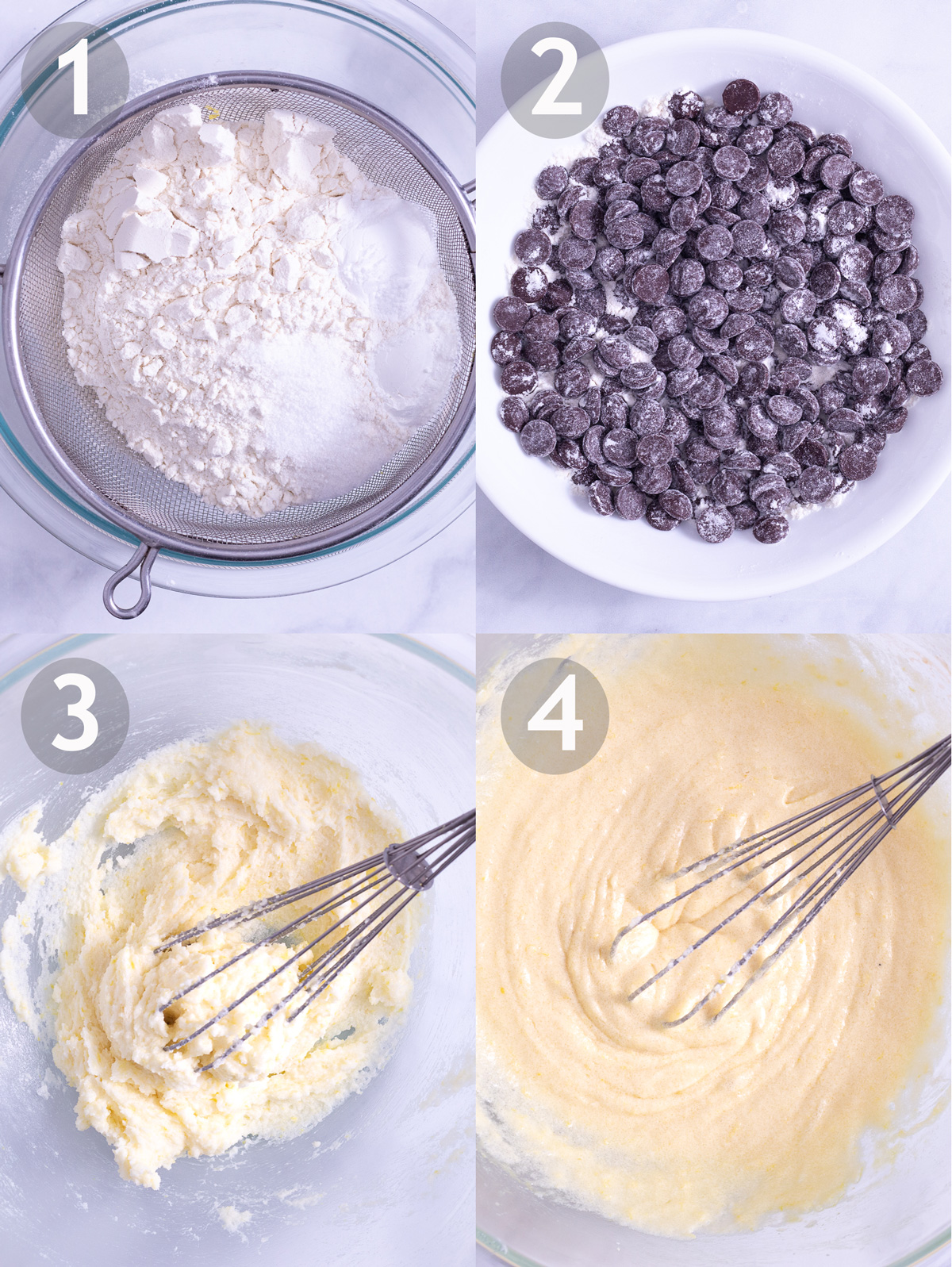 First 4 steps to make chocolate chip muffins including sifting dry ingredients, coating chocolate chips in flour, and whisking sugar, butter and eggs.