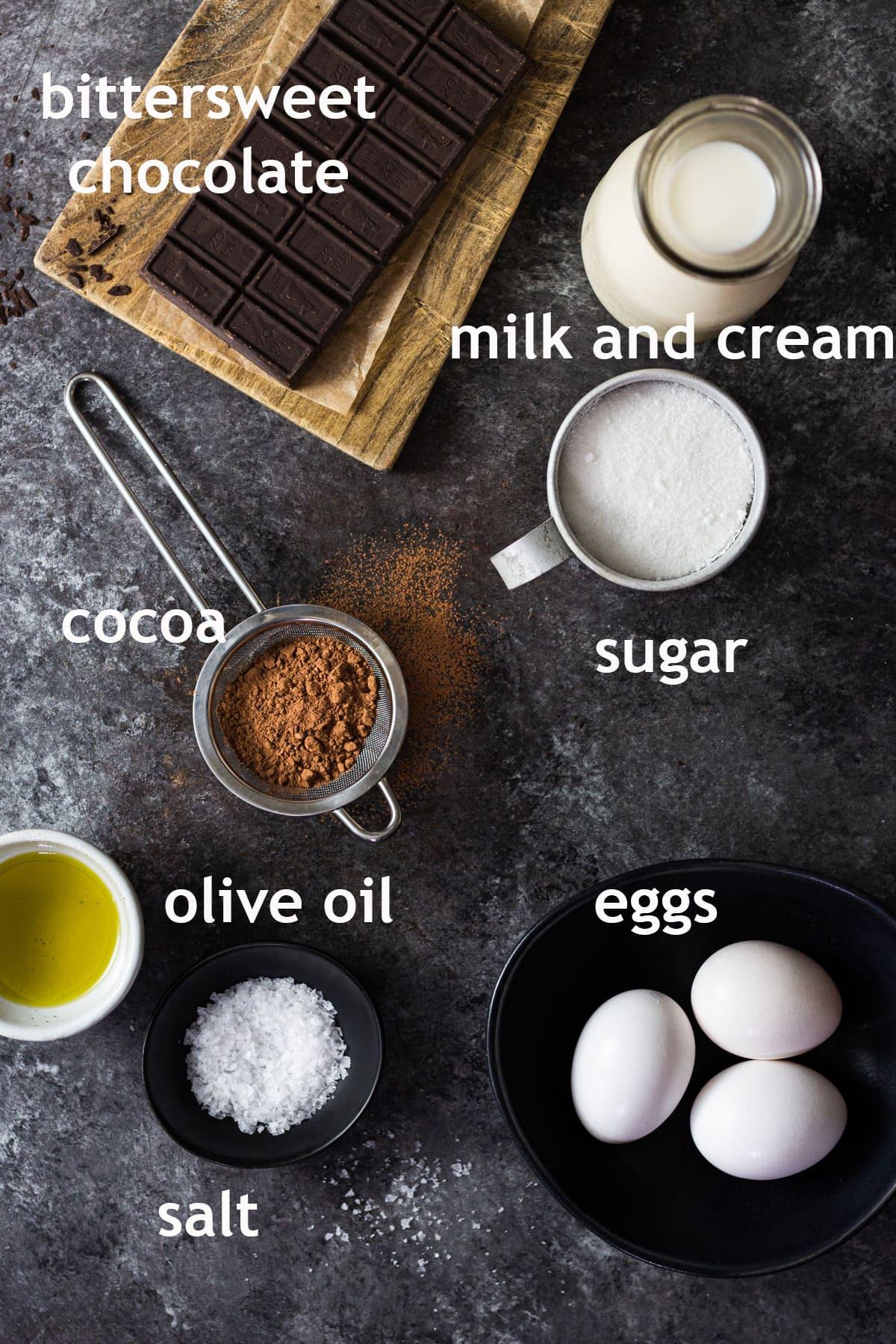 Chocolate ice cream ingredients, including chocolate, cocoa, milk, cream, sugar, olive oil, eggs and salt.