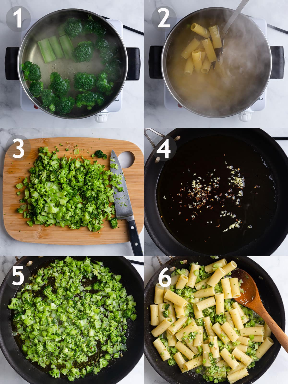 Steps to cook pasta including boiling and chopping broccoli, boiling rigatoni, sautéing onion and red pepper, and adding broccoli, pasta and grated cheese.