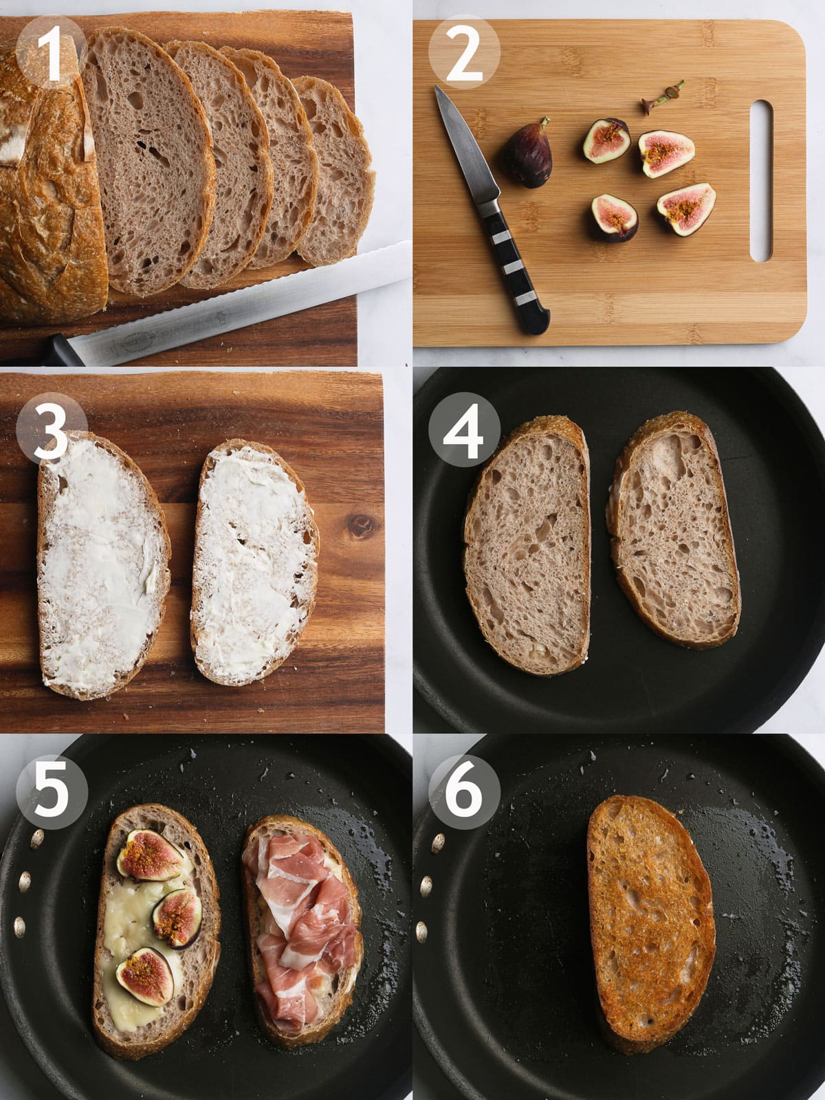 Steps to make grilled cheese including slicing, buttering and toasting the bread, layering on the other ingredients, and melting the cheese.