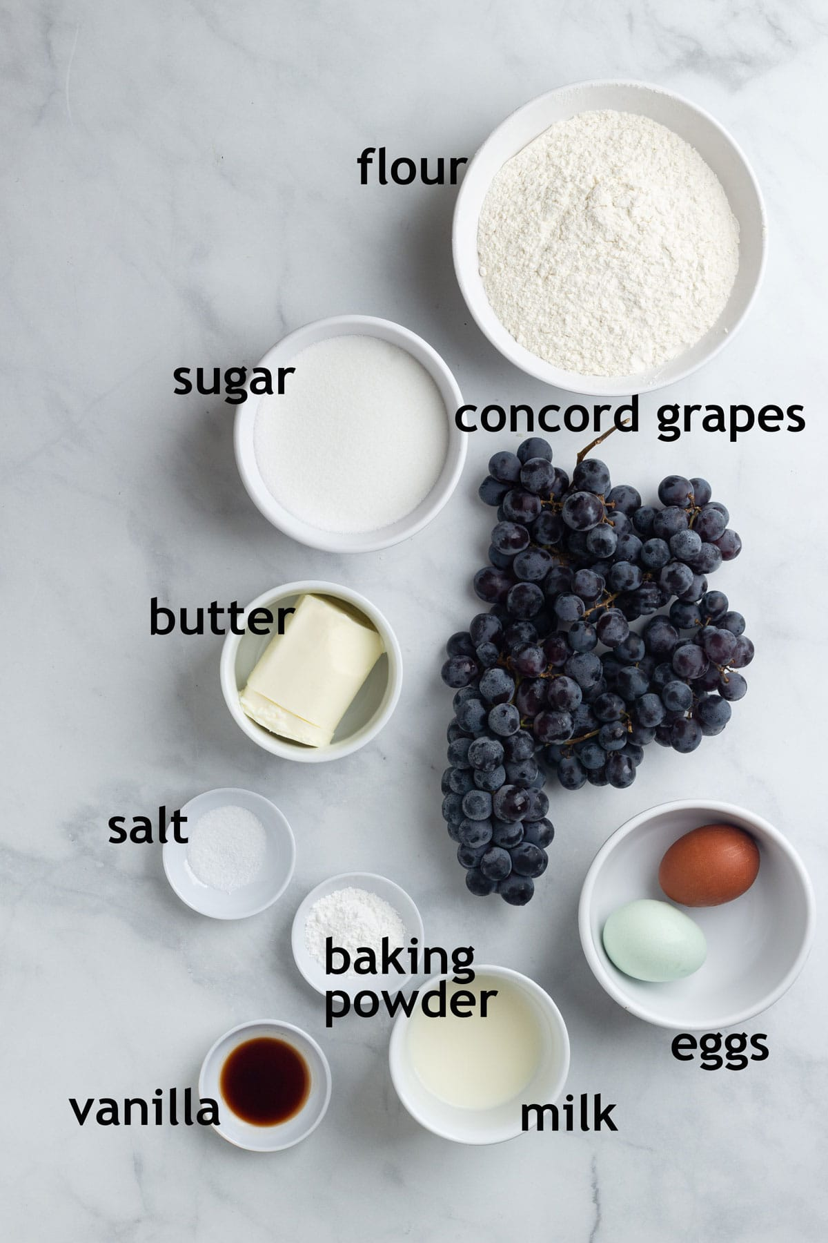 Ingredients including flour, sugar, butter, grapes, baking powder, salt, eggs, milk and vanilla.