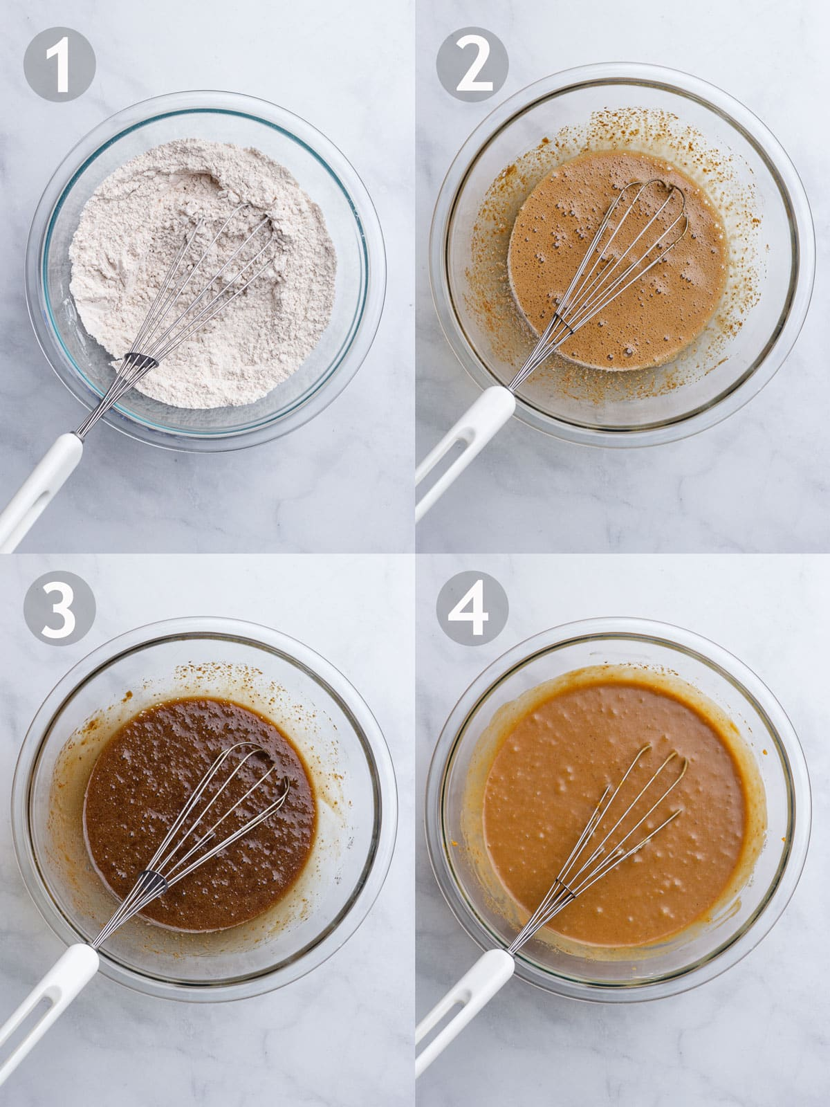 Steps to make muffins including mixing dry ingredients, mixing wet ingredients and combining the wet and dry ingredients.
