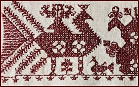 Finnish embroidery swans