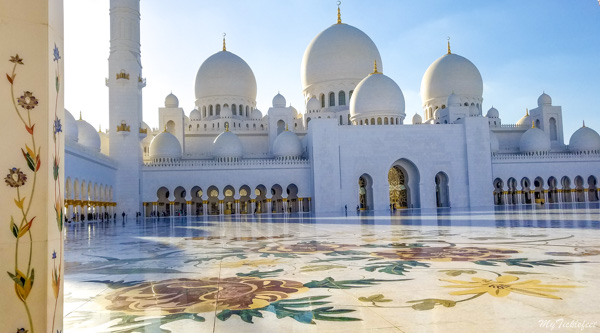 Intricate designs on the marble in Sheikh Zayed Mosque