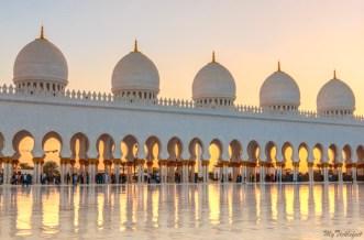 Grand Mosque Abu Dhabi corridors during sunset