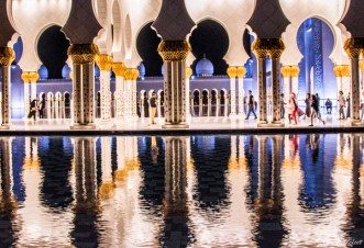 Reflecting Pool at night in Sheikh Zayed Mosque