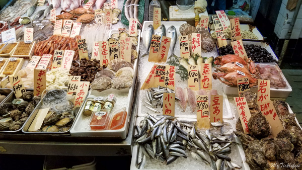 Variety of seafood in Japanese markets