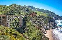 Scenic views on roadtrip in California on highway 1