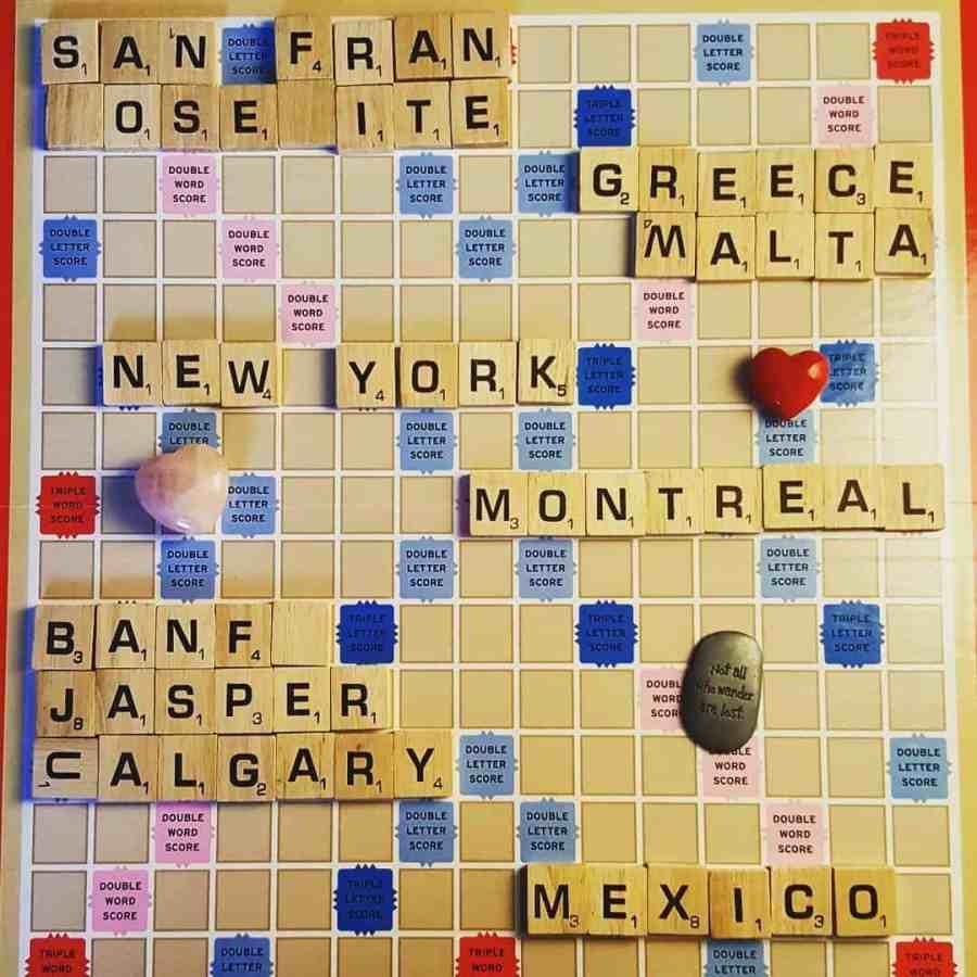 scrabble board of future travel destinations  for blogging