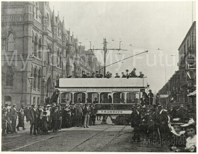 Tram crossing the road at Corporation Road (1910)
