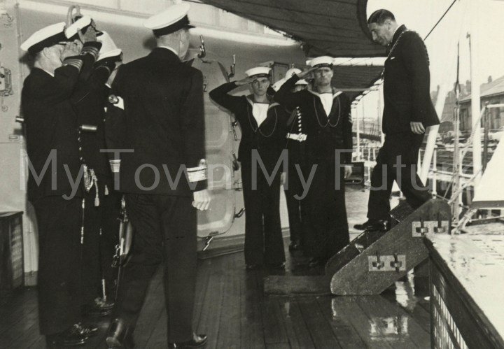 War Ships - HMS Tiger, Welcoming Mayor of Mbro Aboard, 1-7-1966, 1966 - The Star
