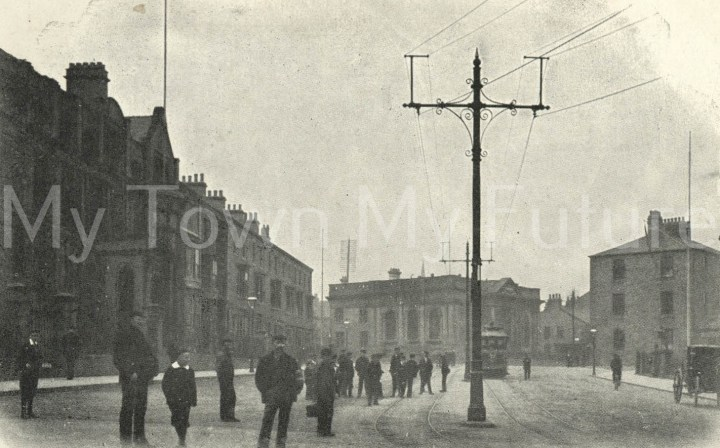 Postcard style image of Queen's Square, Middlesbrough.