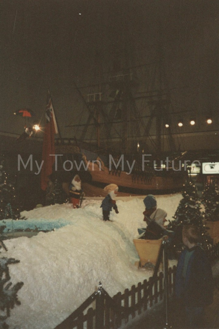 Cleveland Centre - Model of 'Endeavor Ship' 2 of 3 on Display, Christmas 1990 - Roaray Clubs christmas display. J.Campbell care of Middlesbrough Reference Library
