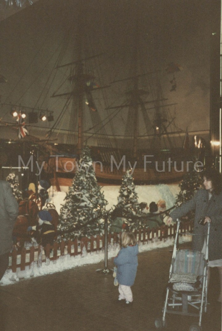 Cleveland Centre - Model of 'Endeavor Ship' 3 of 3 on Display Christmas 1990 - Roaray Clubs christmas display. J.Campbell care of Middlesbrough Reference Library