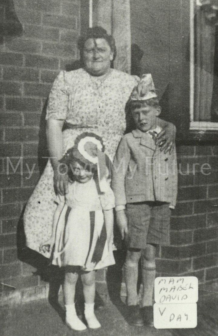 Mrs Sandrell with Davd and Mabel on VE Day VE Day 1945