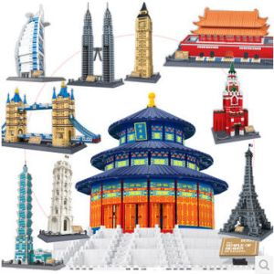 Wange 8011-21 Great architectures 11 models London Bridge Big Ben Tiananmen Building <font><b>Block</b></font> Sets Educational DIY Bricks Toys