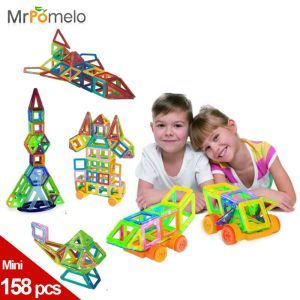 Mini 158pcs/lot Magnetic Construction Models Building <font><b>Blocks</b></font> Toys DIY 3D Magnetic Designer Learning Educational Bricks Kids Toys