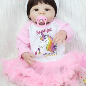 Full Body Silicone Reborn Baby Girl Toy 22inch/55cm Newborn Baby Princess Toddler Doll With Unicorn Dress Lovely Birthday Gift