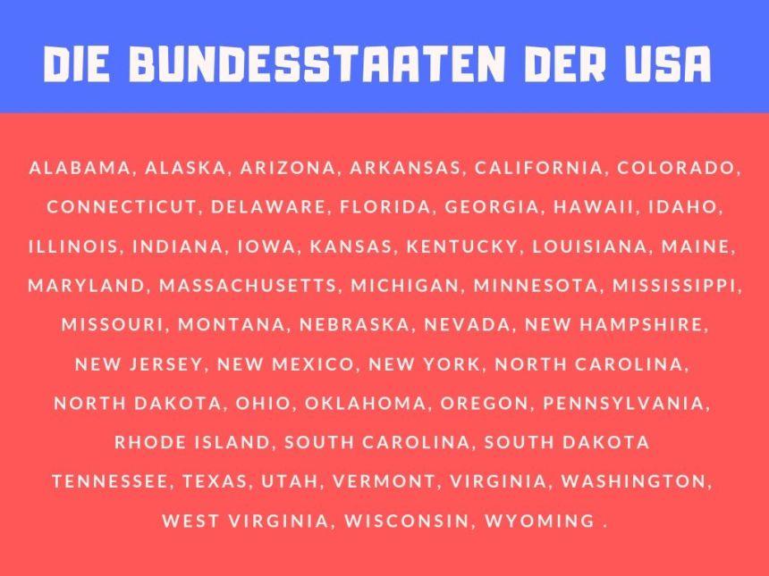 Wie viele Bundestaaten hat die USA