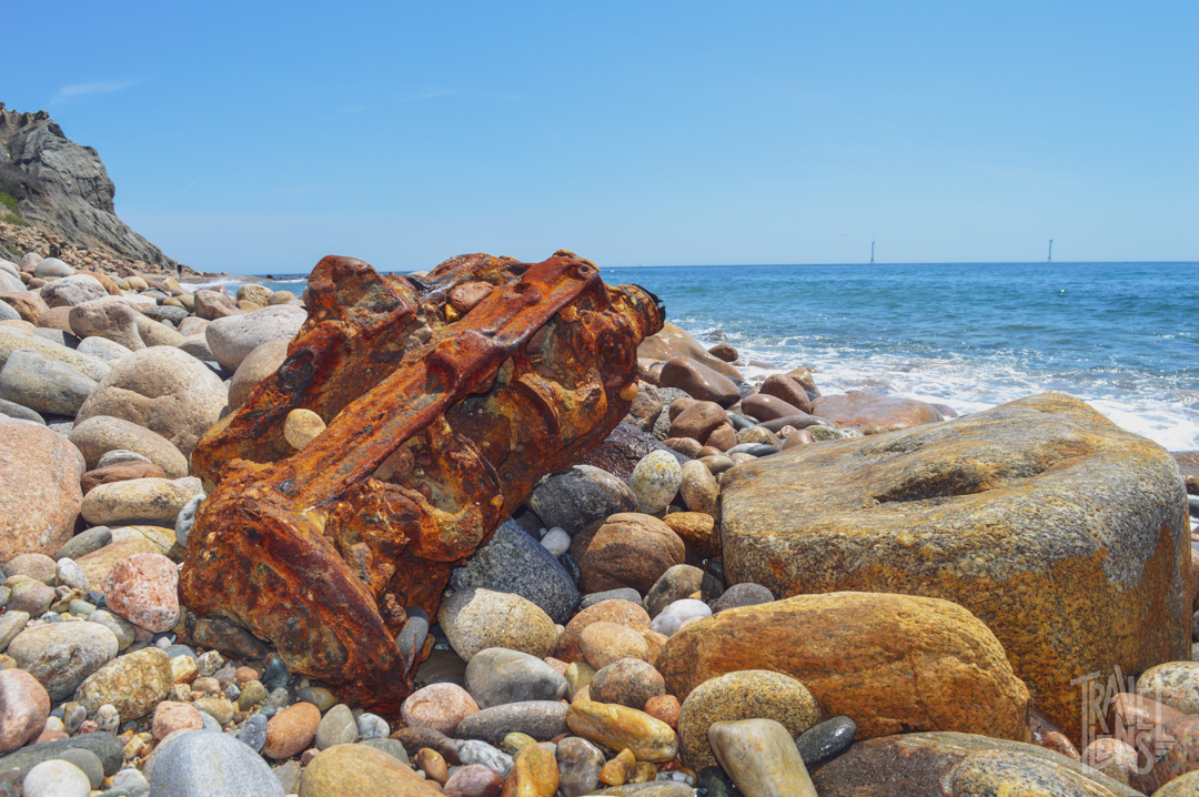 Washed up boat motor on Mohegan Bluffs in Block Island