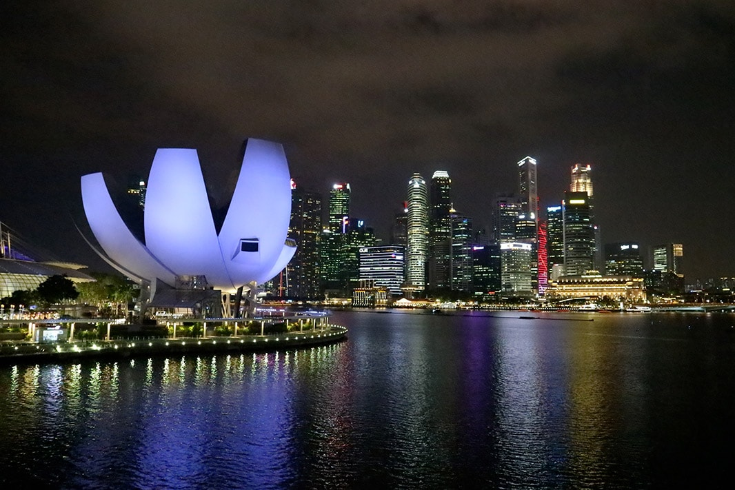 vista di notte dell'artiscience museum di singapore
