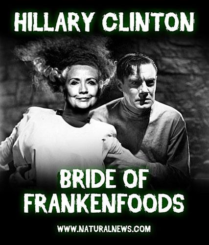 Risultati immagini per hillary clinton ed il cibo frankenstein