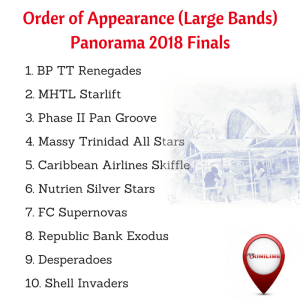 Order of Appearance Large Bands Panorama Finals 2018