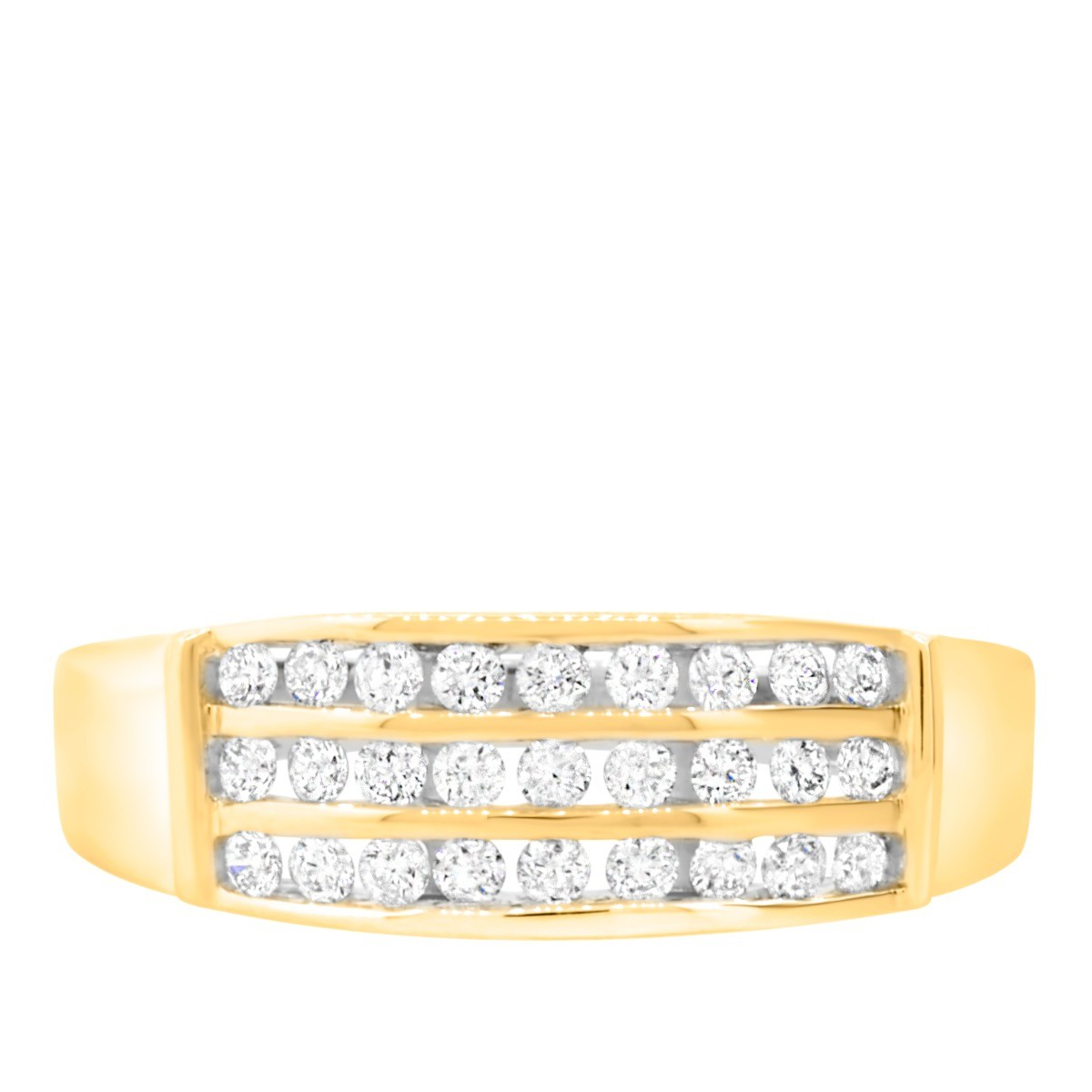 34 Carat TW Diamond Mens Wedding Band 14K Yellow Gold