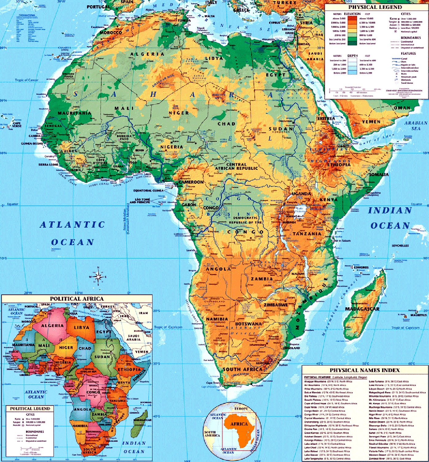 Maps Of African Continent Countries Capitals And Flags