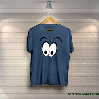Navy blue smiley panda t shirt
