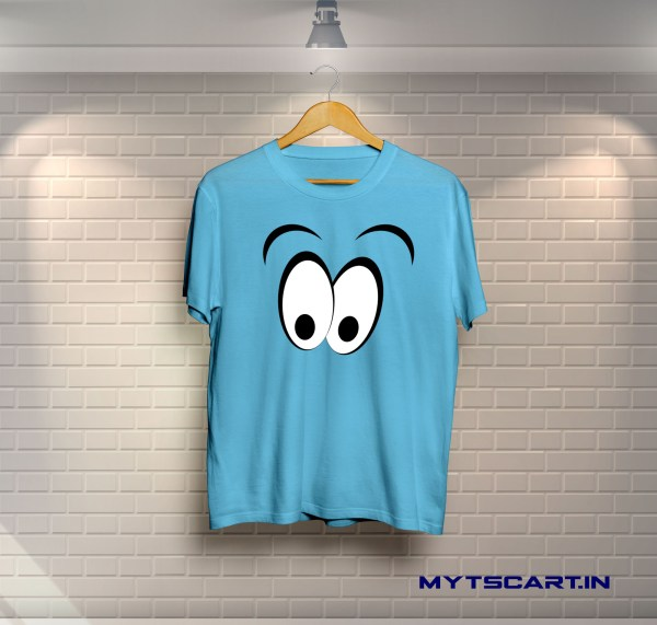 Sky blue smiley panda t shirt