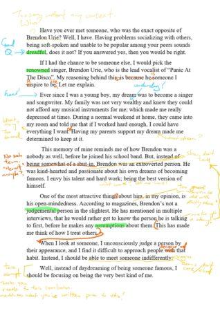 Sample of graded essay