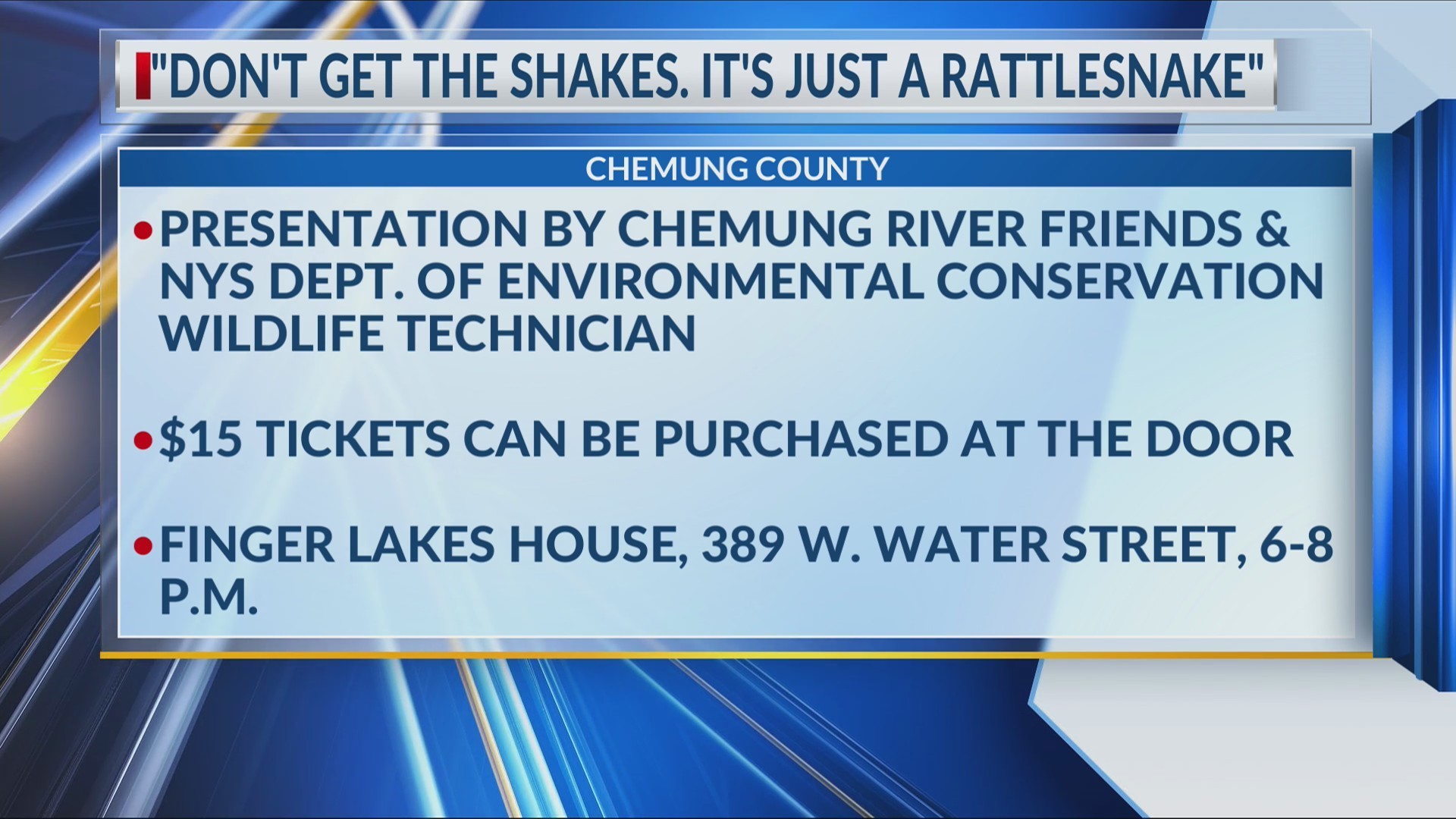 """""""Don't get the shakes - it's just a rattlesnake"""": Chemung River Friends and DEC host presentation"""