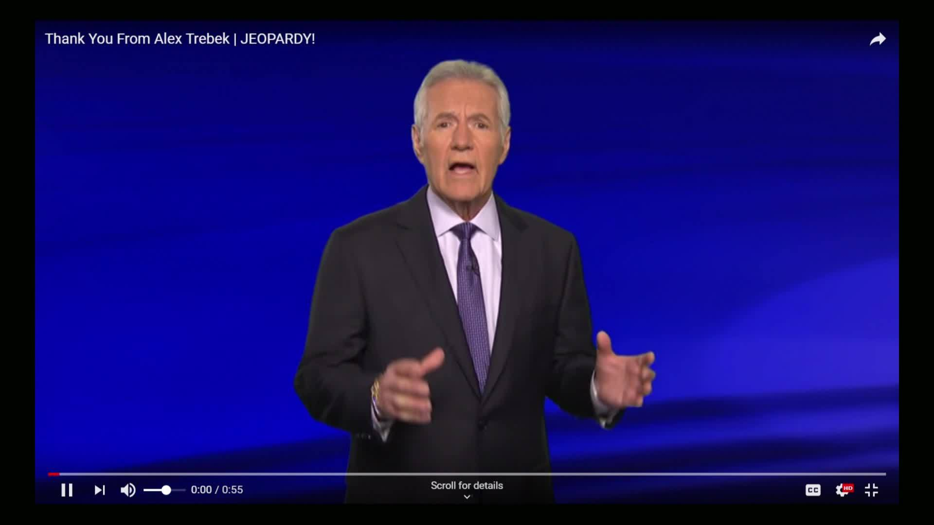 'I'm a lucky guy': Alex Trebek thanks fans for support after cancer diagnosis
