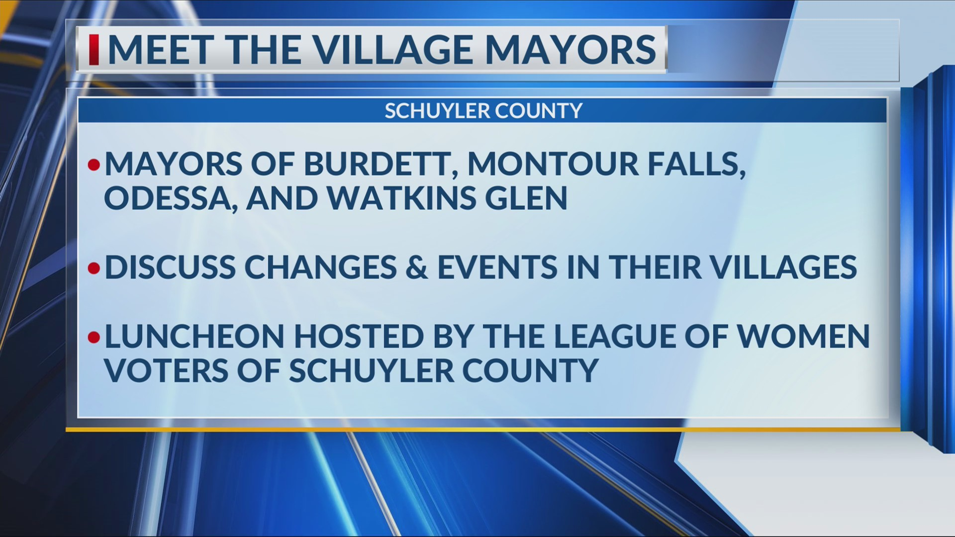 Meet the Mayors: Schuyler County Village mayors to discuss changes & events