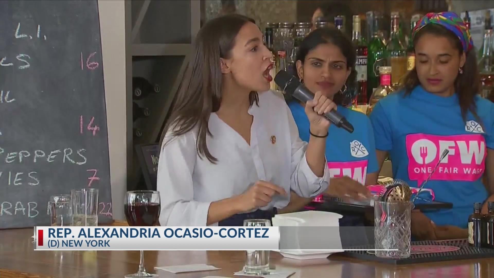 Congresswoman Alexandria Cortez waits tables to wait out change