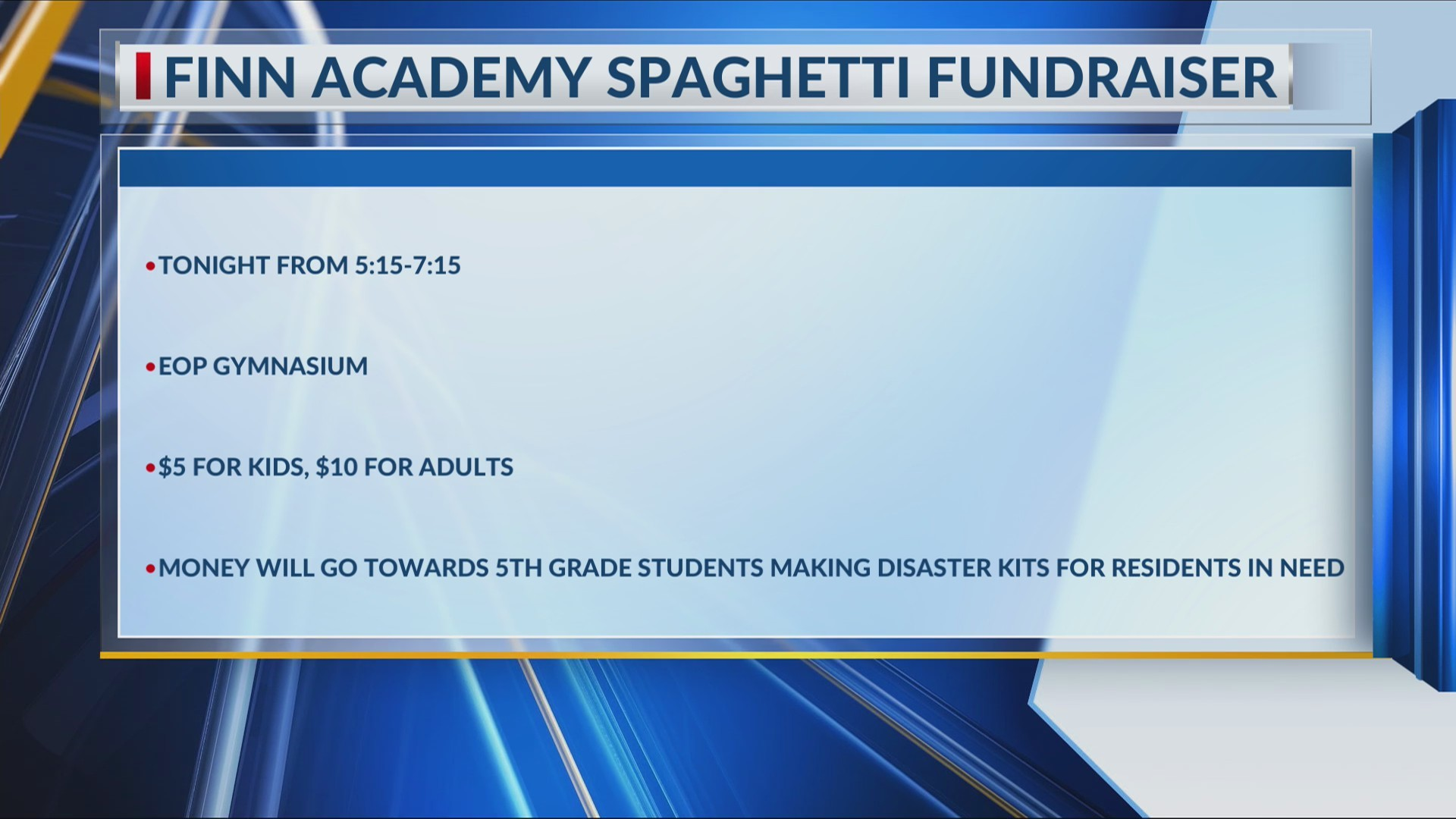 Finn Academy 5th graders raising money to create disaster kits