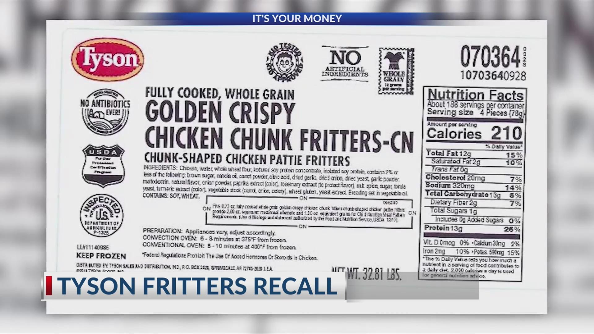 Tyson Fritters Recall