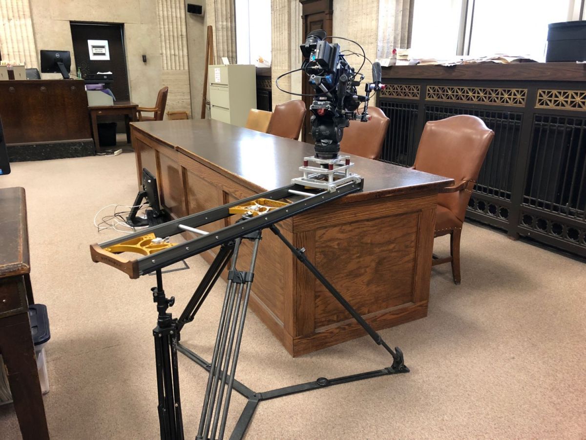 Camera Slider being used on a set for Discovery Channel