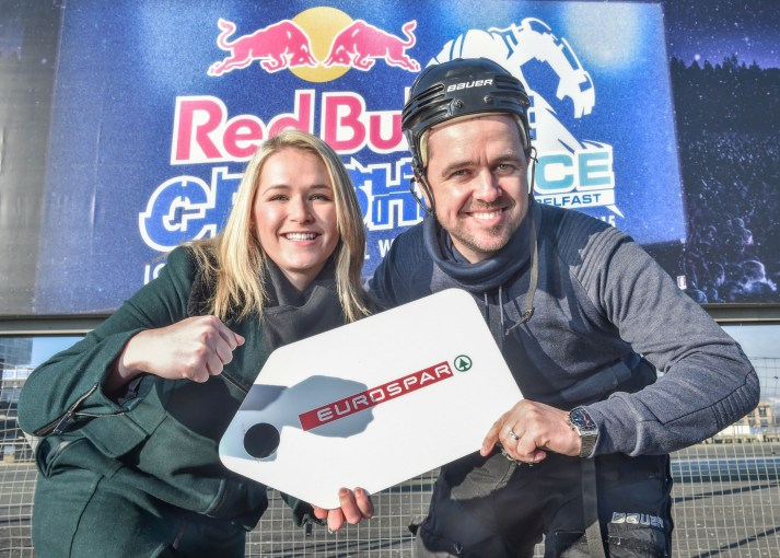 Getting their skates on for Red Bull Crashed Ice are Cool FM's Pete Snodden and Henderson Group's Emma Armer